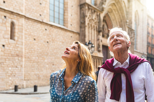 Retired couple exploring Spain